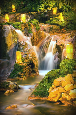 nature with a waterfall